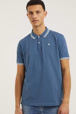 regular fit polo met contrastbies jeansblauw