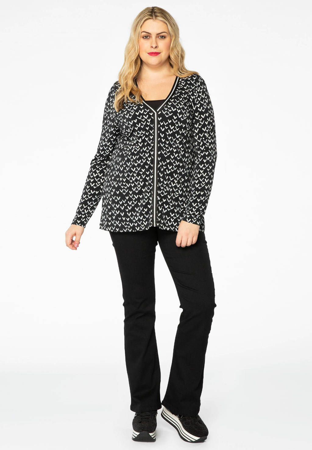 Yoek top met all over print zwart/wit, Zwart/wit