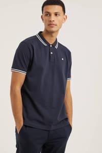 LERROS regular fit polo met contrastbies donkerblauw, Donkerblauw