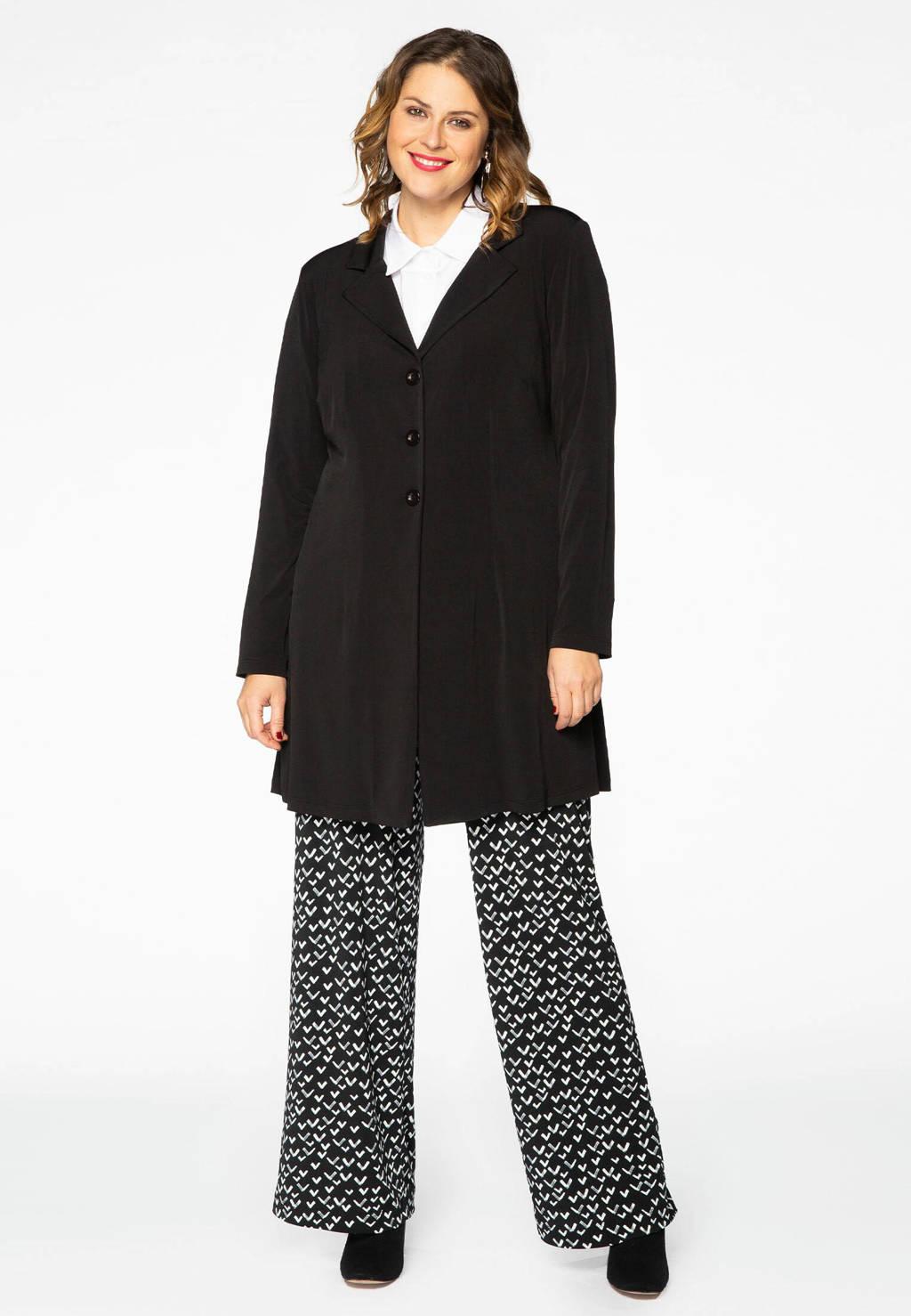 Yoek bootcut broek met all over print zwart/wit, Zwart/wit