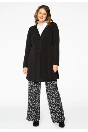 bootcut broek met all over print zwart/wit