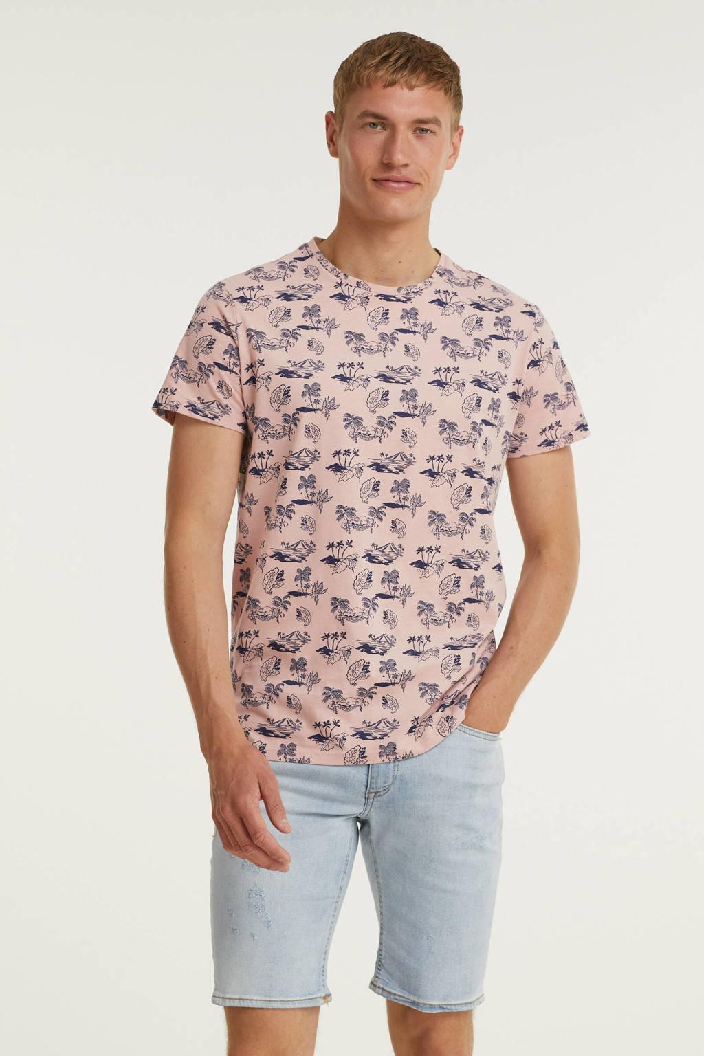 Blend T-shirt met all over print lichtroze/lichtpaars, Lichtroze/lichtpaars