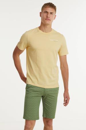 slim fit short met all over print groen
