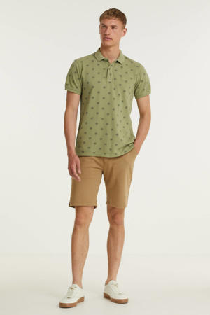 regular fit polo met all over print oil green