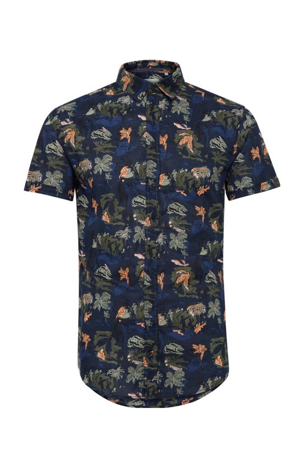 Blend slim fit overhemd met all over print marine/groen/zalm, Marine/groen/zalm
