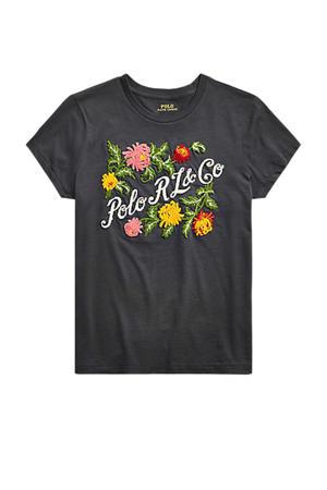 T-shirt met printopdruk en borduursels black