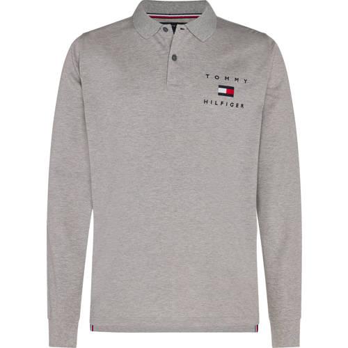 Tommy Hilfiger regular fit polo met logo grijs melange
