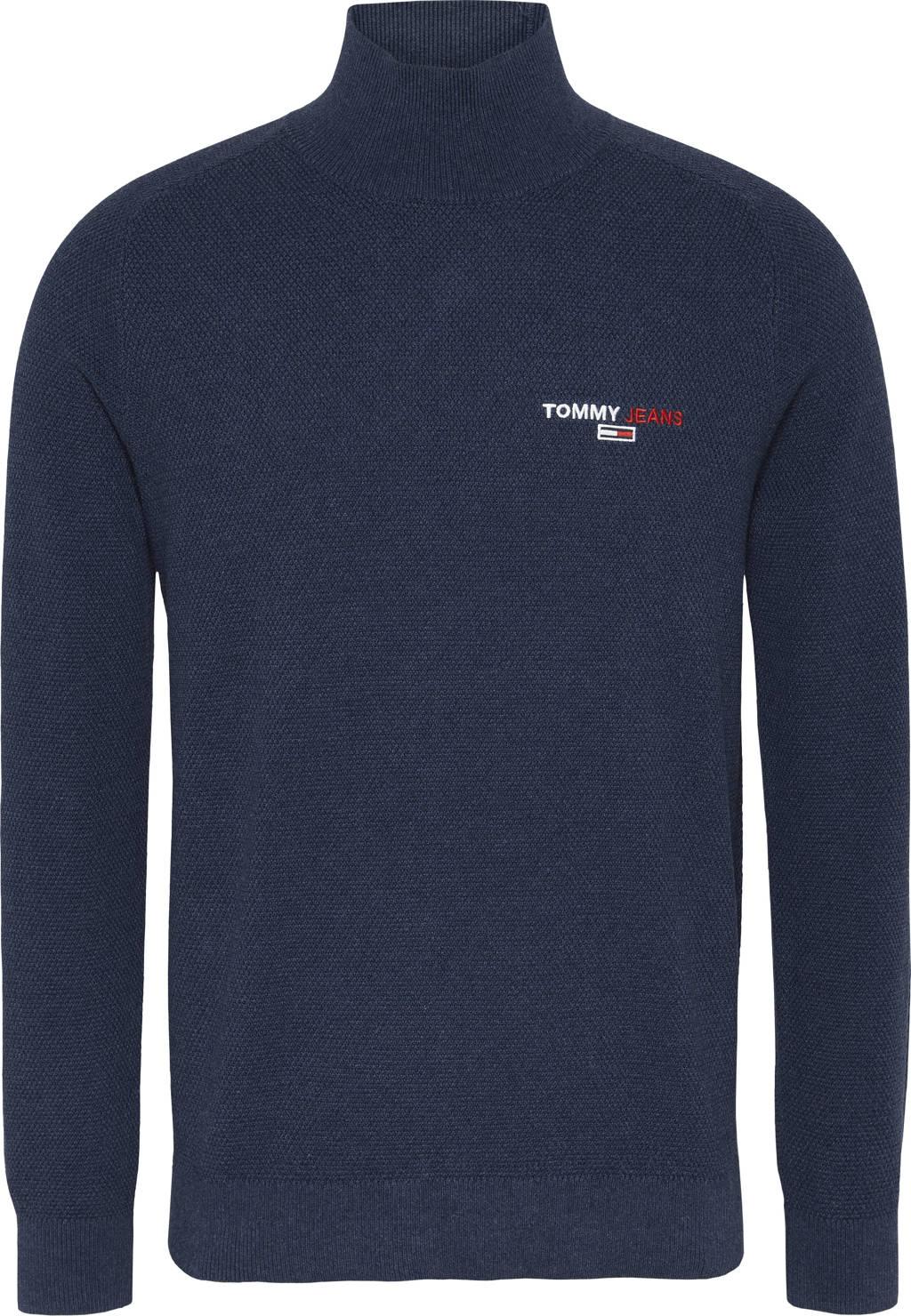 Tommy Jeans coltrui van biologisch katoen donkerblauw, Donkerblauw