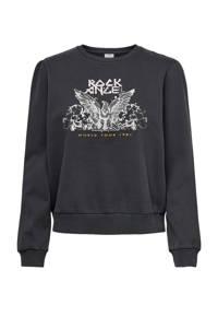 JACQUELINE DE YONG  kerstsweater met printopdruk zwart, Zwart