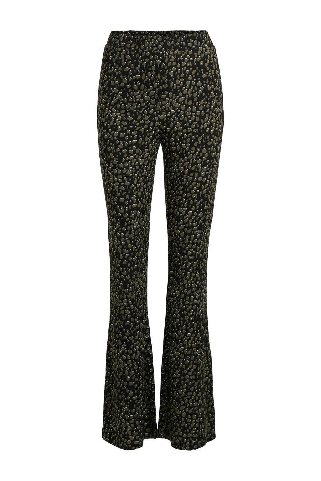 VILA flared legging met panterprint zwart/kaki, Zwart/kaki