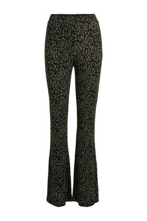 flared legging met panterprint zwart/kaki