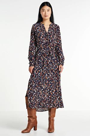 blousejurk Eira met all over print en ceintuur donkerblauw/bruin/ecru