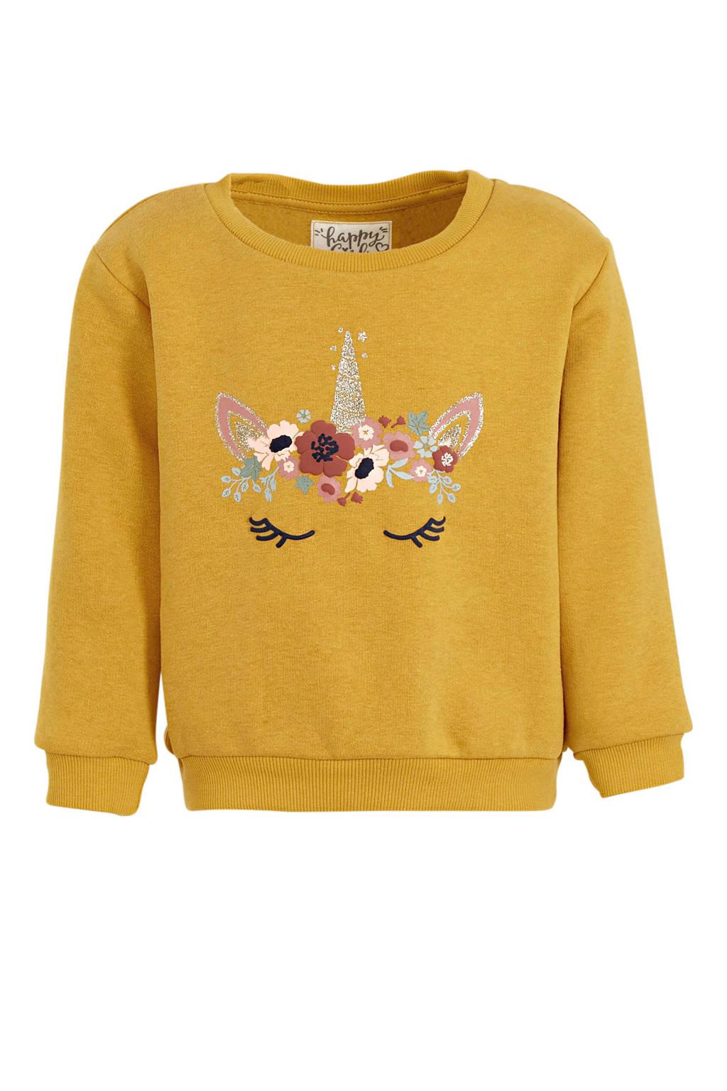 C&A sweater met printopdruk en glitters okergeel, Okergeel