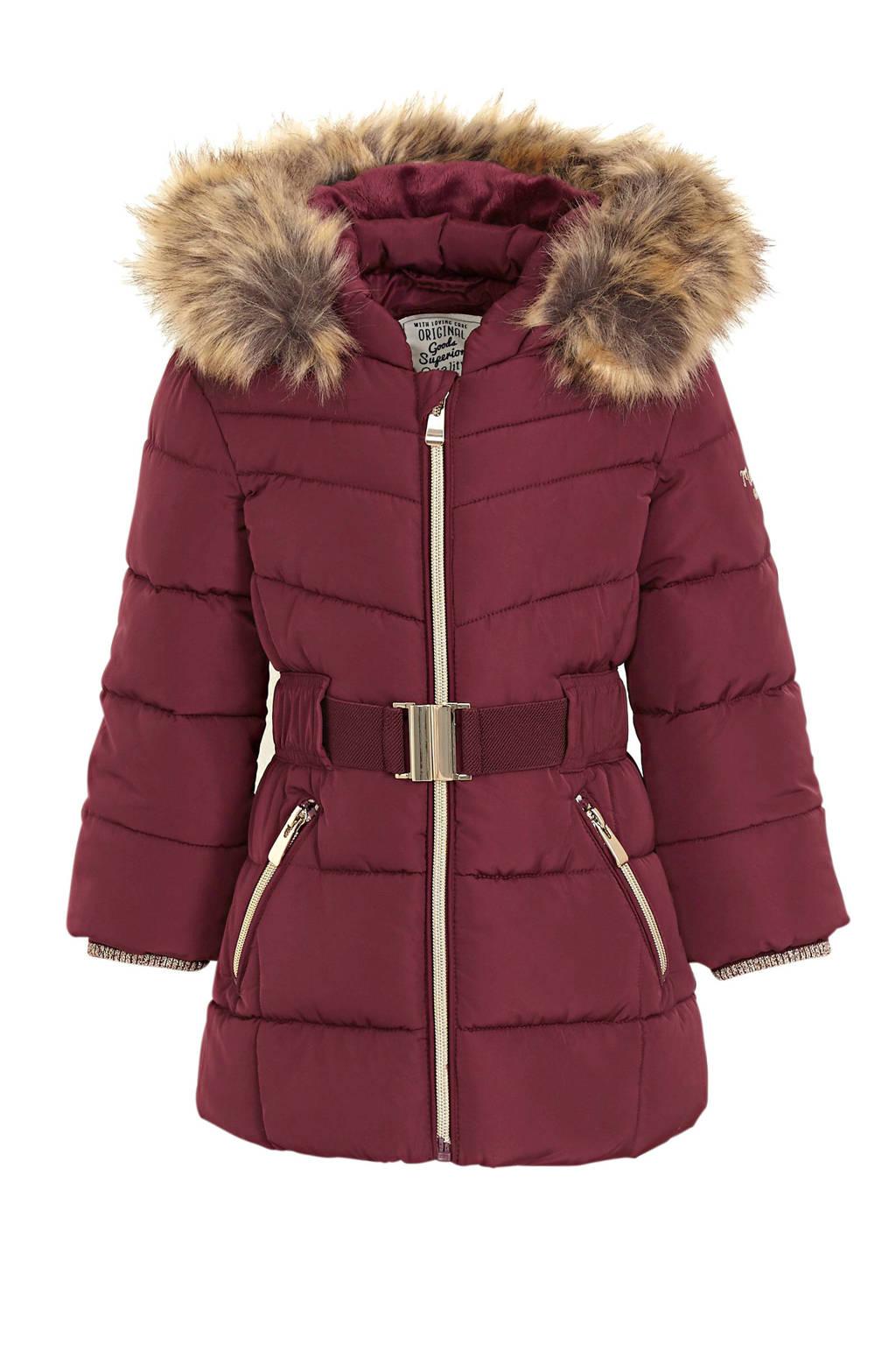 C&A Palomino gewatteerde winterjas met ceintuur donkerrood, Donkerrood