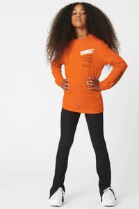 CoolCat Junior longsleeve Leigh met printopdruk oranje, Oranje