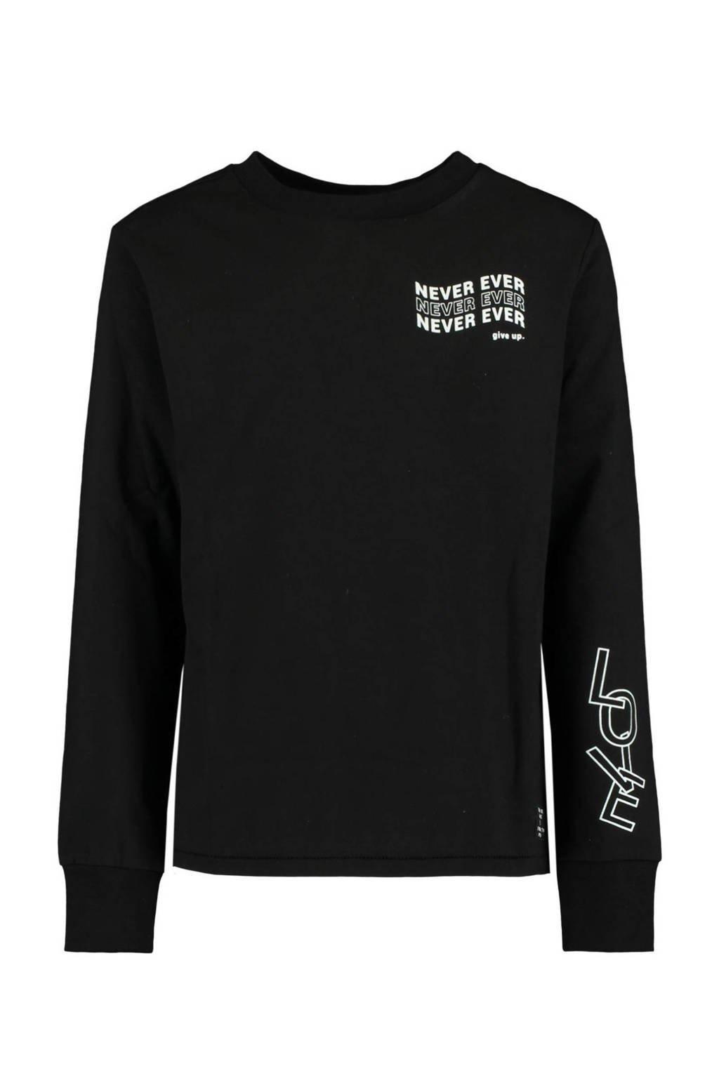CoolCat Junior longsleeve Lala met tekst zwart/wit, Zwart/wit
