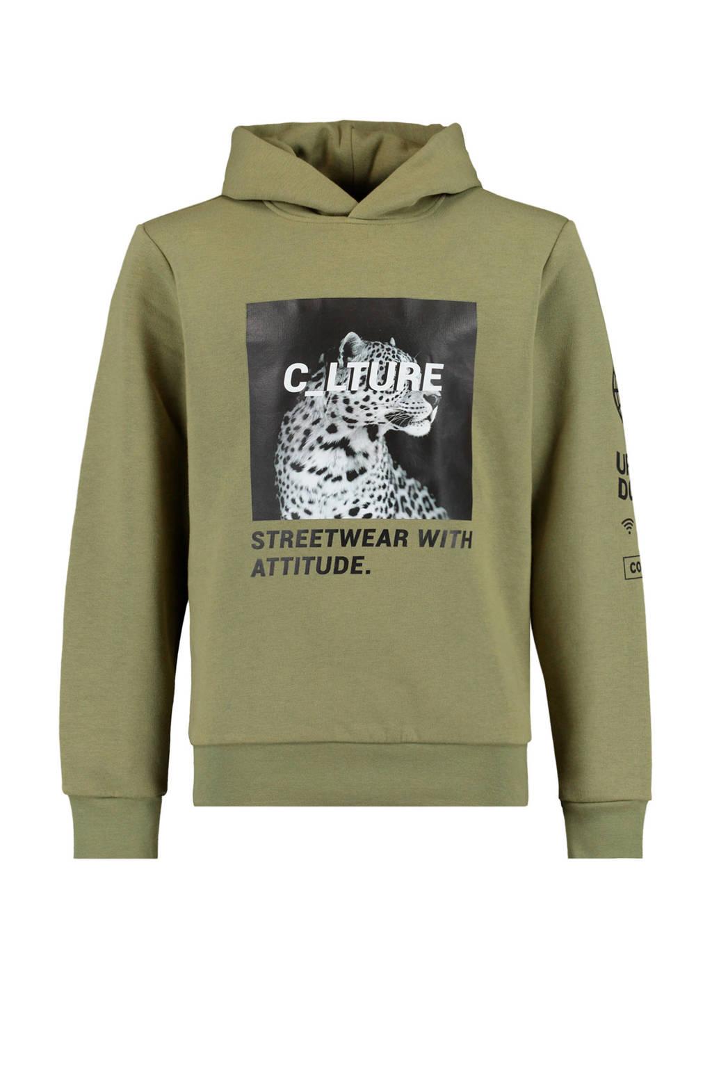 CoolCat Junior hoodie Silver met printopdruk groen, Groen