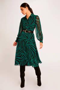 Morgan semi-transparante jurk met zebraprint groen/zwart, Groen/zwart