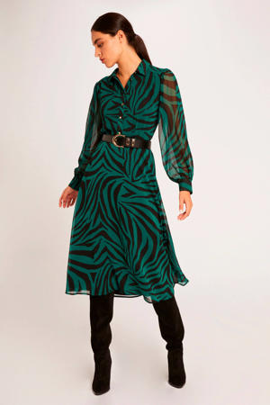 semi-transparante jurk met zebraprint groen/zwart