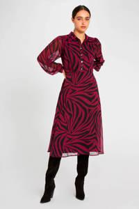 Morgan semi-transparante jurk met zebraprint framboise, Framboise