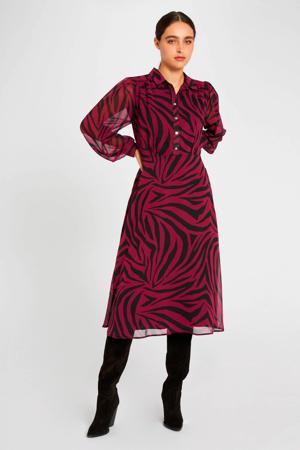 semi-transparante jurk met zebraprint framboise
