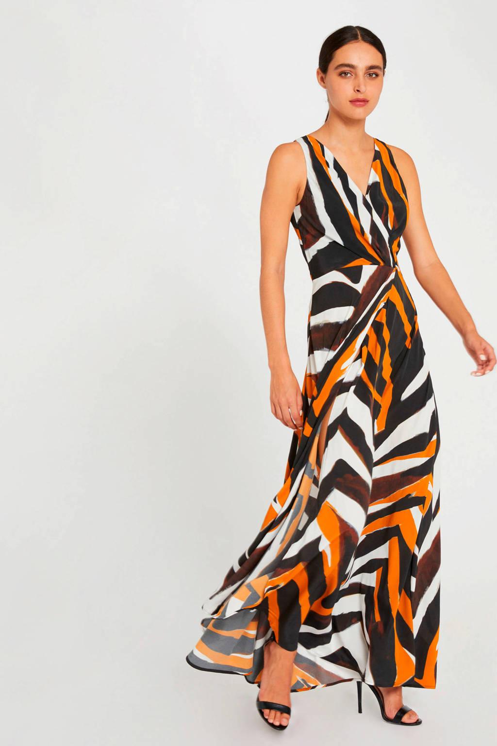 Morgan maxi jurk met all over print zwart/oranje/wit, Zwart/oranje/wit