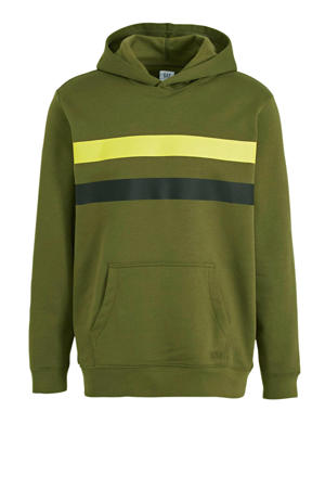 hoodie met printopdruk olijfgroen