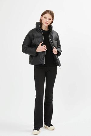 imitatieleren gewatteerde jas Ivali zwart