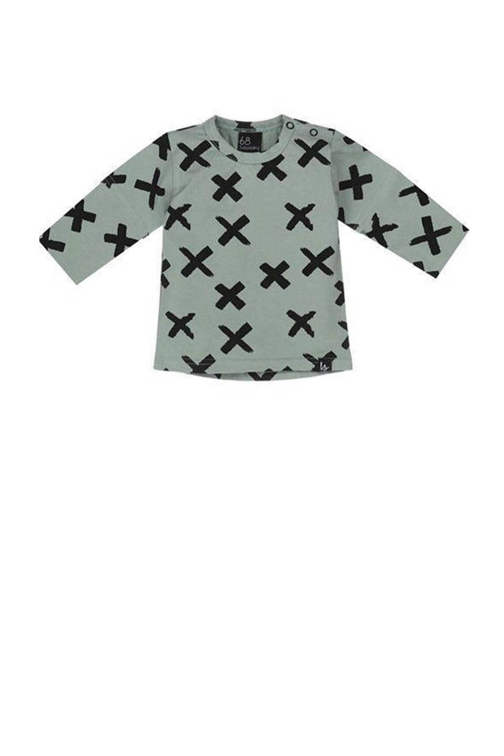 Babystyling longsleeve met all over print grijsgroen/zwart, Grijsgroen/zwart