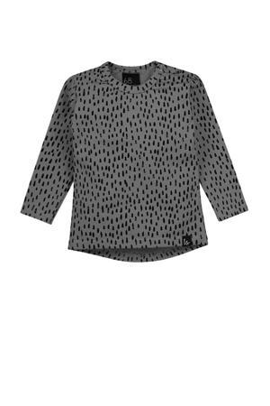 longsleeve met all over print grijs/zwart
