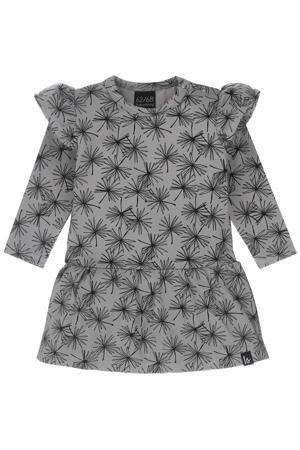 jurk met all over print en ruches grijs/zwart