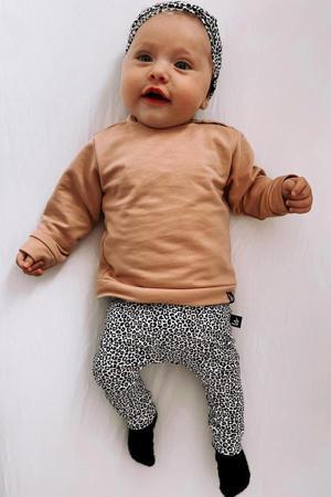 baby slim fit broek met dierenprint beige/grijs/wit
