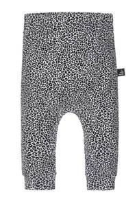 Babystyling baby slim fit broek met dierenprint beige/grijs/wit, Beige/grijs/wit