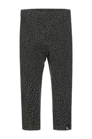 legging met dierenprint khakigroen/zwart