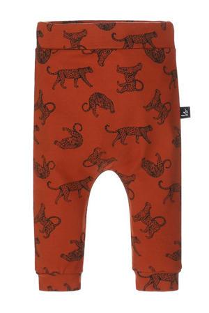 baby slim fit broek met dierenprint roest/zwart