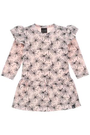 jurk met all over print en ruches oudroze/zwart