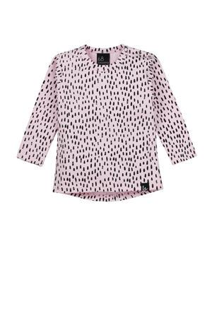 longsleeve met all over print roze/zwart