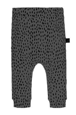 slim fit broek met all over print grijs/zwart