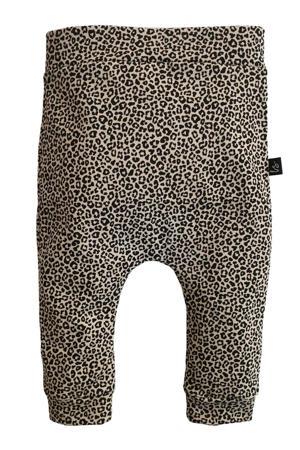 broek met dierenprint beige/zwart