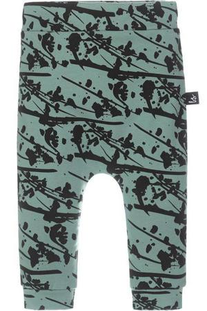 slim fit broek met all over print petrol/zwart