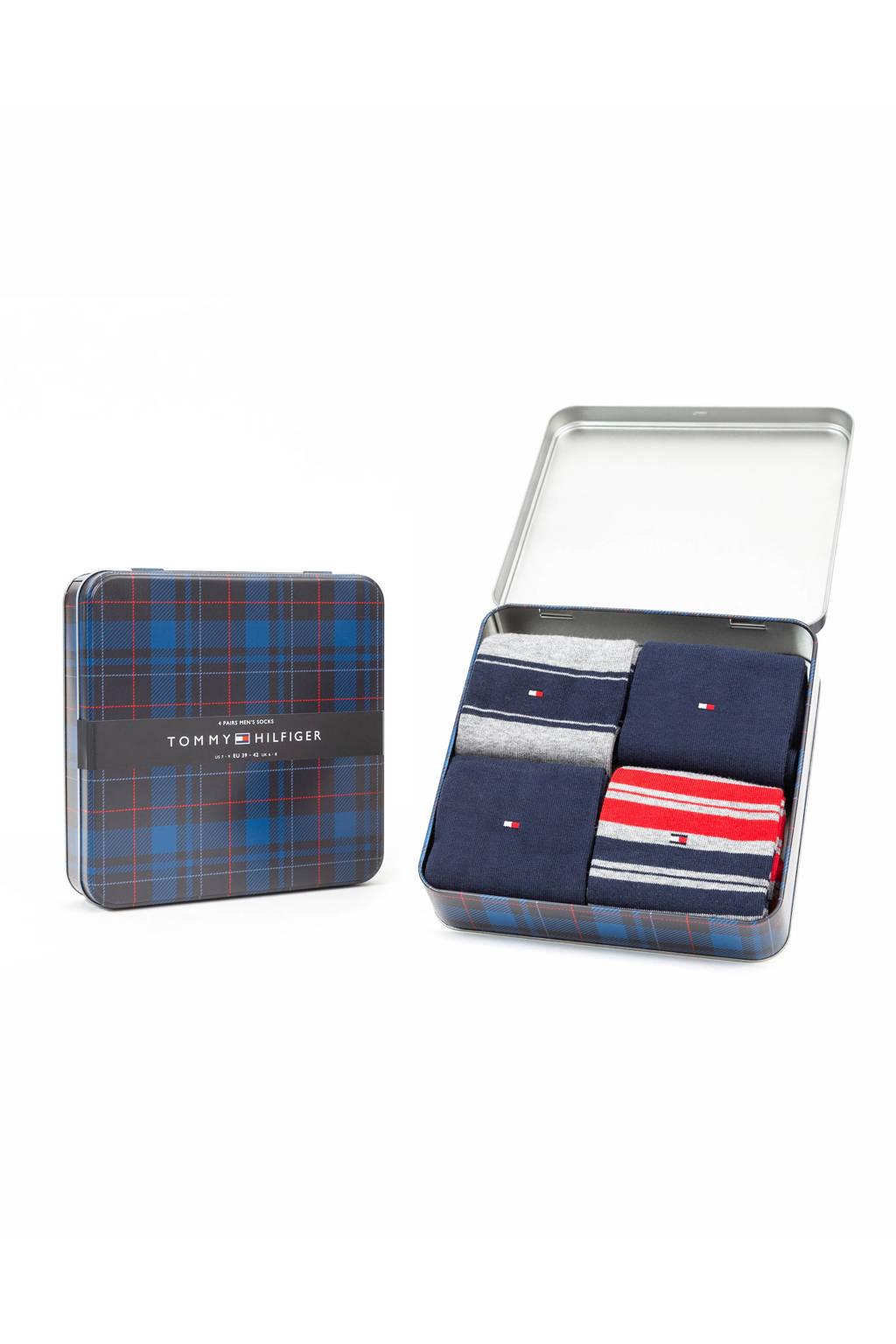 Tommy Hilfiger giftbox sokken zwart/rood (set van 4), Zwart/rood