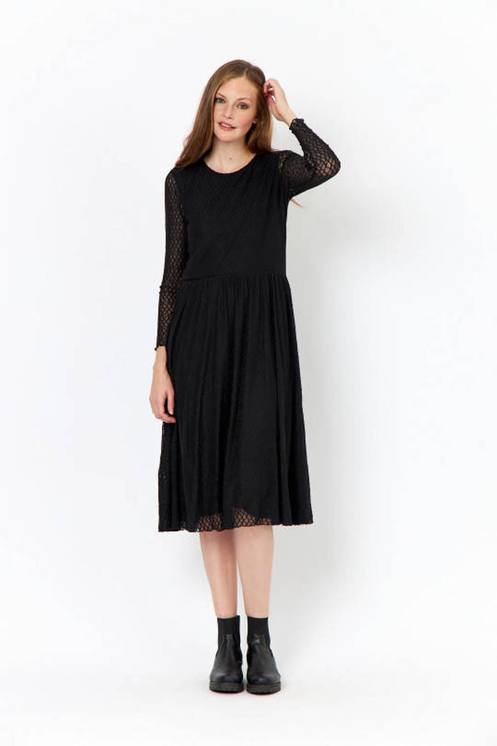 Soyaconcept semi-transparante maxi jurk Nava met plooien zwart, Zwart