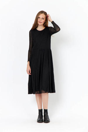 semi-transparante maxi jurk Nava met plooien zwart