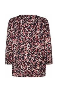 Soyaconcept top SC-MARICA AOP 128 met all over print zwart/roze, Zwart/roze
