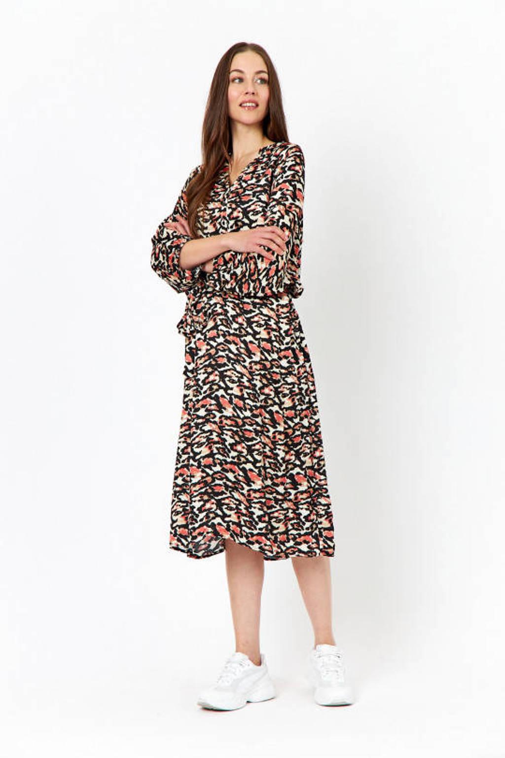 Soyaconcept jurk met all over print en ceintuur multicolor, Multicolor