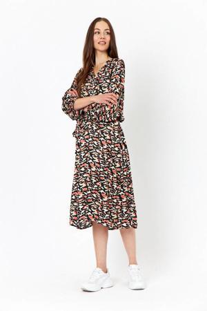 jurk met all over print en ceintuur multicolor