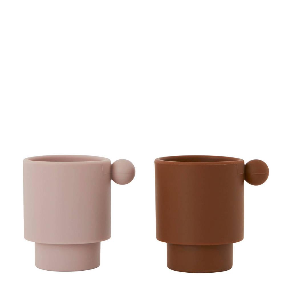 OYOY kopje Tiny Inka (set van 2), Caramel/Roze