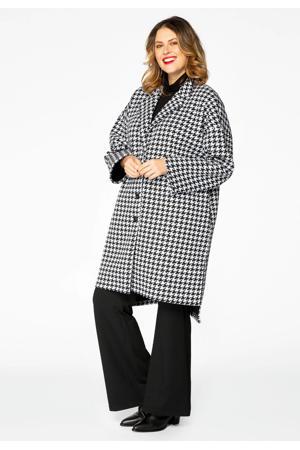 coat tussen met pied-de-poule zwart/wit