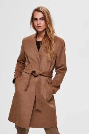 coat Mella met ceintuur bruin
