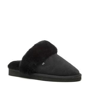 suède pantoffels zwart